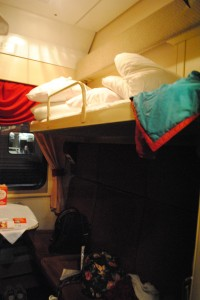 My Kupe cabin on the midnight train to Moscow