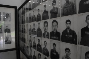Tuel Sleng prison, pictures of genocide victims incarcerated here.